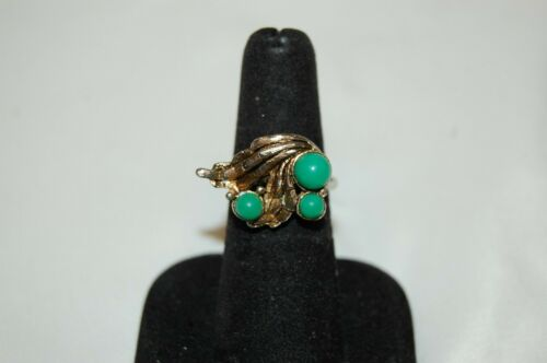 Vintage Signed Silver and Gold Tone Daco Ring Green Stones Size 6 Adjustable