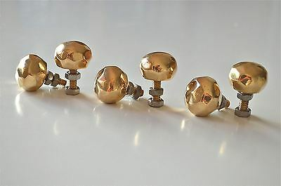 Set of 6 superb quality faceted brass furniture knobs handles chest knob 2008
