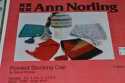 Ann Norling Knitting Pattern Pointed Stocking Cap child to adult