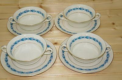 """Castleton Classic Blue (4) Cream Soup Bowls, 5"""" & (4) Saucers, 7 1/8"""""""