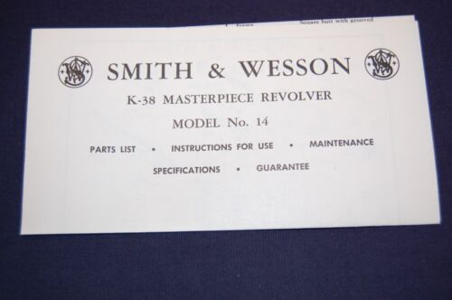 SMITH & WESSON MODEL 14 K-38 MASTERPIECE MANUAL