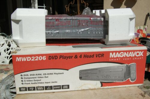 Magnavox MWD 2206 DVD VCR VHS 4 Head Player Combo Player new open box