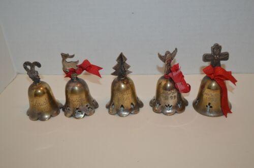 Vintage International Silver Plated Set of 5 Christmas Bells Engraved 90