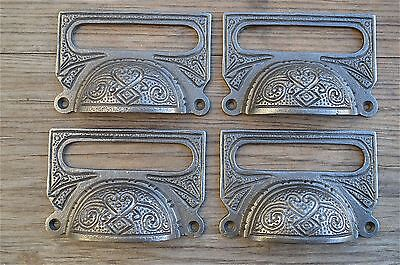 A SET OF 4 LARGE EDWARDIAN CAST IRON LABEL FRAME HANDLE FILING DRAWER PULL CB10