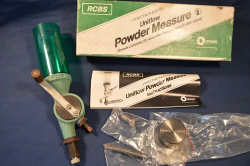 RCBS UNIFLOW POWDER MEASURE RELOADING EQUIPMENT,W/ EXTRA PARTS & BOX,PREOWNED