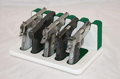 Pistol 5 Gun Rack Stand 505 White Green Cabinet Safe