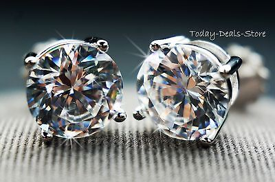 round cut screwback basket stud earrings solid real 14K WHITE GOLD 4CTW
