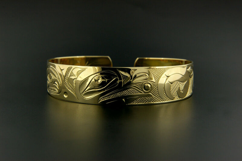 "14k Yellow Gold Native American Cuff Bracelet Hand Engraved 1/2"" Wide New Signed"