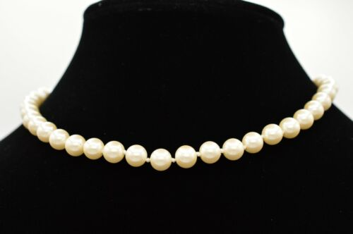 Talbots Signed Vintage Statement Choker Necklace Gold Faux Pearl Strand BinR
