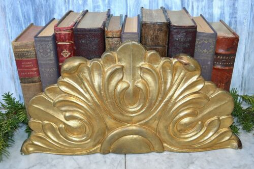 Antique French Carved Wood Gilded Arched Pediment