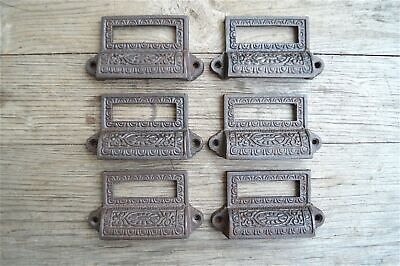 A set of 6 Edwardian cast iron label holder drawer pull furniture handles AL16