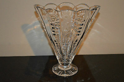 Vintage Antique Pressed & Cut Glass FAN VASE Crystal Clear - Etched Flower #K