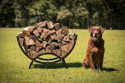 "Titan Outdoors 39"" Curved Crescent Firewood Log Rack Wood Holder Lumber Storage"
