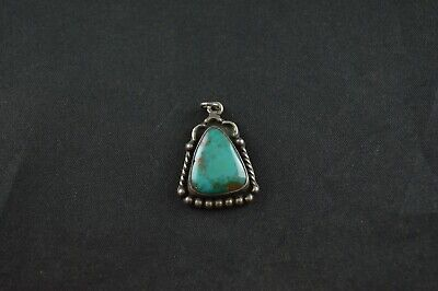 Native American Sterling Silver Triangle Pendant w Turquoise Inlay - 4g