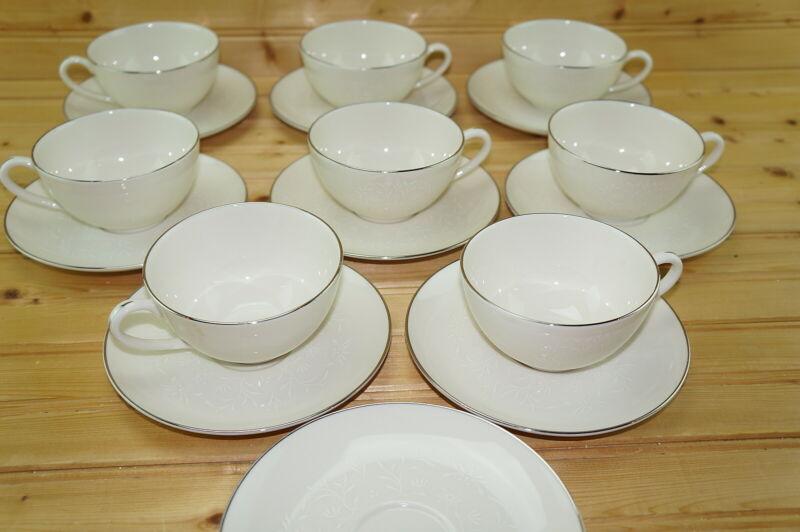 "Pickard Damask (8) Cups, 2"" & (9) Saucers"