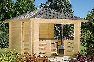Gartenhaus Pavillon Holz mit Badebottich Bausatz incl. Unterwasserofen Holzfass