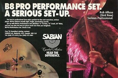 1992 small Print Ad of Sabian B8 Pro Drum Cymbals w Rob Affuso of Skid Row comprar usado  Enviando para Brazil