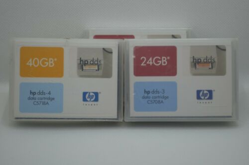 3 (2 HP dds-3 data Cartridge C5708A 24GB / 1 HP DDS-4 Data Cartridge 40GB C5718A