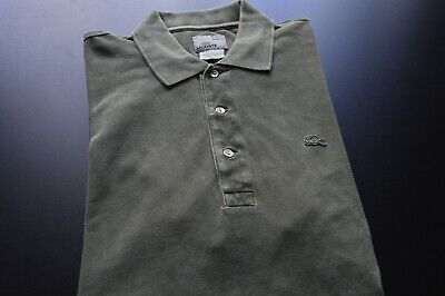 LACOSTE VINTAGE WASH MENS SOLID OLIVE GREEN 100% COTTON POLO SHIRT SIZE: 5