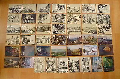 AK 46x alte Ansichtskarte Künstlerkarte Böhmen Mähren Prag Sudentenland ...
