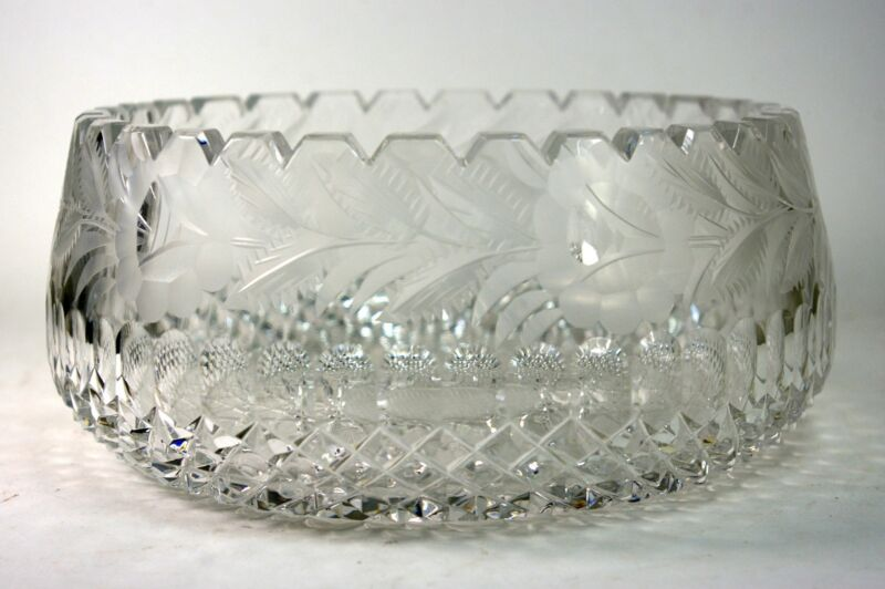 Cut Crystal Bowl Etched Flowers