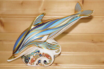 """Royal Crown Derby Striped Dolphin Jumping Waves, 7 1/2"""" x 3 1/2"""""""