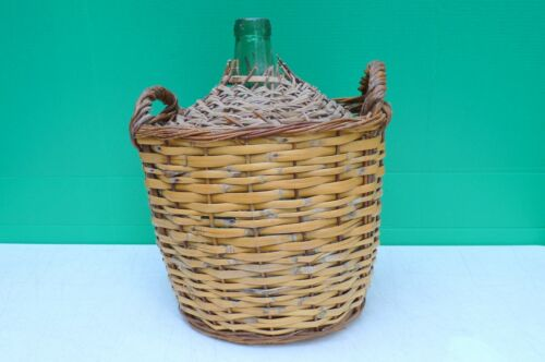 Large Vtg  VIRESA Green Glass DEMIJOHN Woven Wicker Encased Wine Bottle Vessel