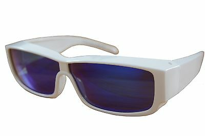 Andevan™ 100%UV Polarized Cover Over Sunglasses white plastic w/blue (Sunglasses 100 Uv)