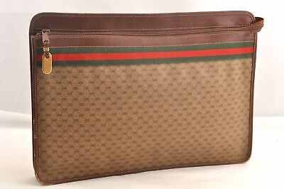 Auth GUCCI Micro GG Web Sherry Line Document Case PVC Leather Brown 97113