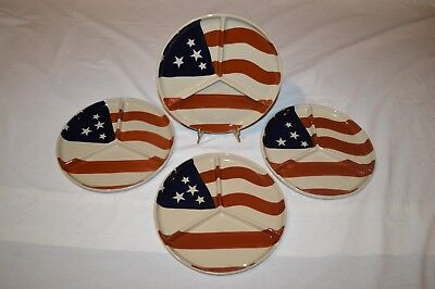 Patriotic Theme Dishes Ltd Commodities Flag Plates 4Th Of July 10  Devided Rare