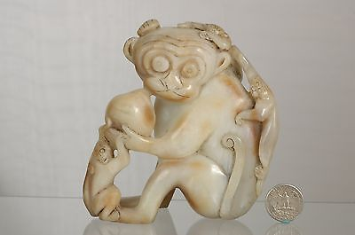 Asian Chinese Jade Carving of a Statue / Figure of 4 Monkey & Peach