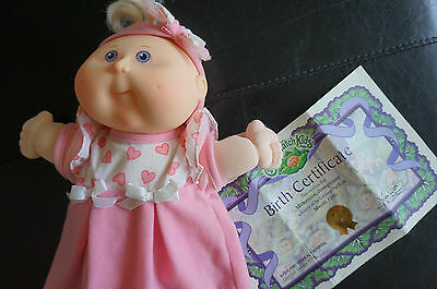 CPK Collectible 2005 Cabbage Patch Kid Blonde Hair Purple Eyes Baby Doll Pink