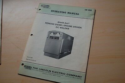 Lincoln Shield Arc Dc Welder Perkins Diesel Owner Operator Operation Manual Book