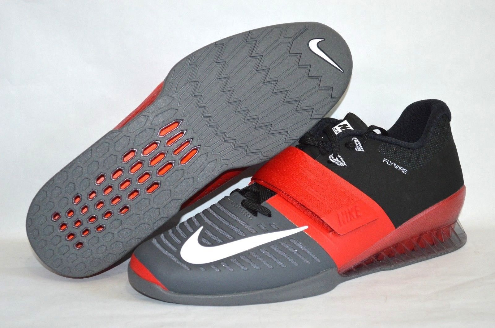 Nike Romaleos 3 Uomo Sollevamento Pesi Scarpe Rosse/ Grigio/Nero