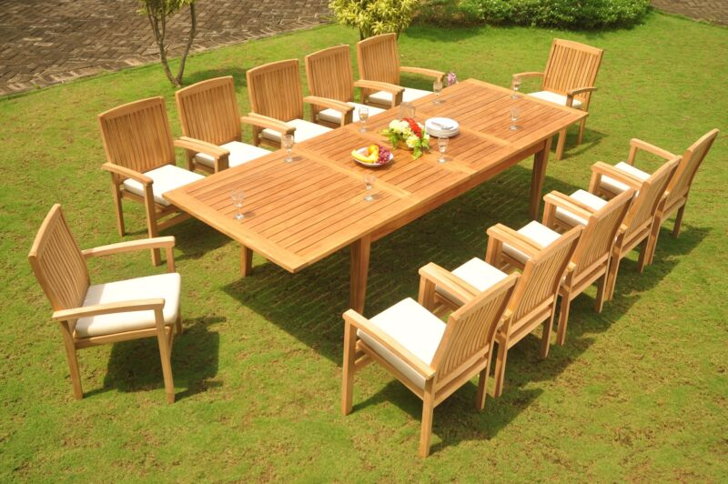 """13-pc Outdoor Teak Dining Set: 122"""" Xl Rectangle Table, 12 Stacking Chairs Wave"""