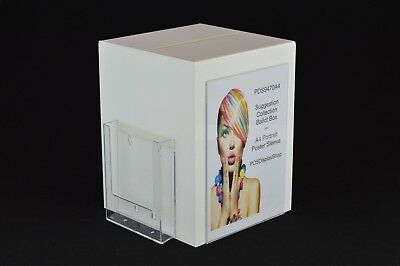 Suggestion Box / Collection Box with Leaflet + Poster Holder PDS9470A4 White