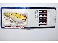 Rebel 1 7//8/' Pop/'n Frog Topwater Bass Lure 3//16oz Swamp Frog Yellow Lot Of 2