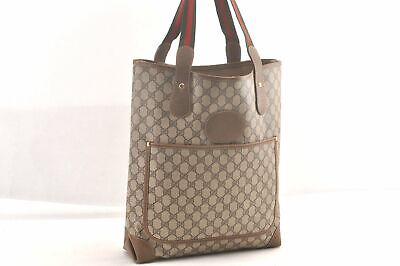 Authentic GUCCI Web Sherry Line Shoulder Tote Bag PVC Leather Brown 96150