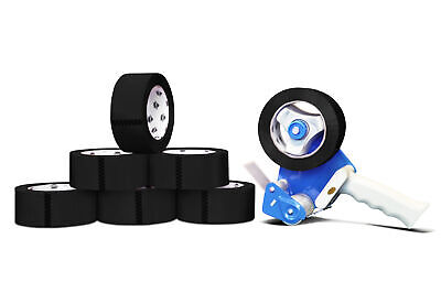 Free 3 Tape Gun Dispenser With 24 Rolls 3x55 Black Colored Packing 2 Mil Tape