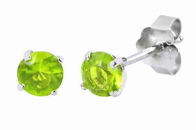 Round Peridot Earrings Set (Peridot CZ August Birthstone Round Stud Earrings .925 Sterling Silver BASKET)