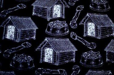 """BTY*GREY DOG HOUSES, BONES & FOOD BOWLS ON BLACK FLEECE FABRIC 1 YD 60X36"""""""