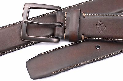Belt Columbia Leather Brown Contrast Stitching S32 M36 XL42 Men Women (Columbia Brown Belt)