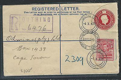 BASUTOLAND (P0912B) KGVI 4D  RLE 1939  UPRATED KGVI 1D CROCODILE TO CAPETOWN