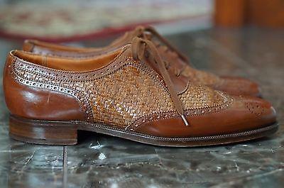 Crockett   Jones 9 D Uk 8 Wingtip Balmoral Woven Braid Leather England Tan