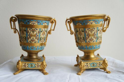 Pair of 19th Century French Champleve Enamel Vases