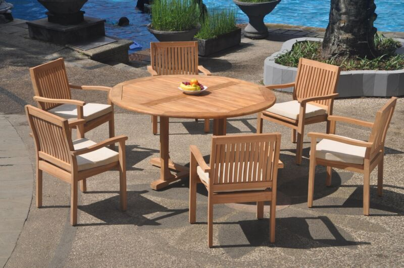 """7pc Grade-a Teak Dining Set 60"""" Round Table 6 Leveb Stacking Arm Chair Outdoor"""