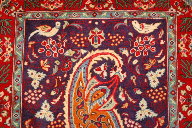 C1930s Antique Fine Detailed Kork Wool Prsian Saruk Rug 2.3x2.5 Bird Subjects