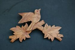 Cuckoo Clock Part Bird Leaves Finial Carved Wood Red Glass Eye 9 1/2 x 6 1/2