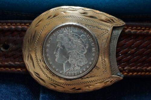 Vintage Will Aren Horseshoe1888 Morgan dollar Belt Buckle Gold / Silver  Ex. Cd