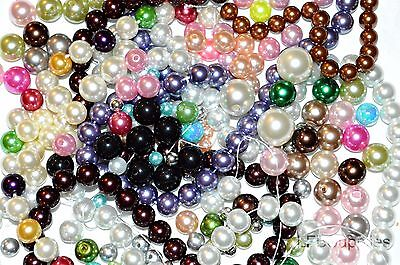 Wholesale 1/2 lb Pearls Plastic Glass Beads 5mm-15mm Pearl Beads Mixed Bulk Lot